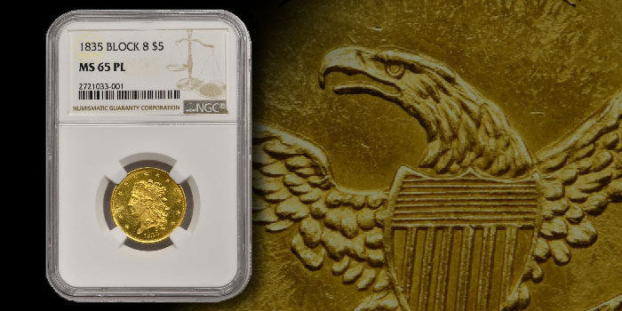 Sole Finest 1835 Classic Head $5: Stack's Bowers Direct Coin of the Week