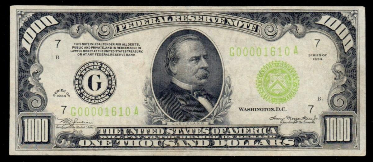 Series of 1934 $1,000 Federal Reserve Note Green Seal - Numismatic Crime Information Center (NCIC), Doug Davis