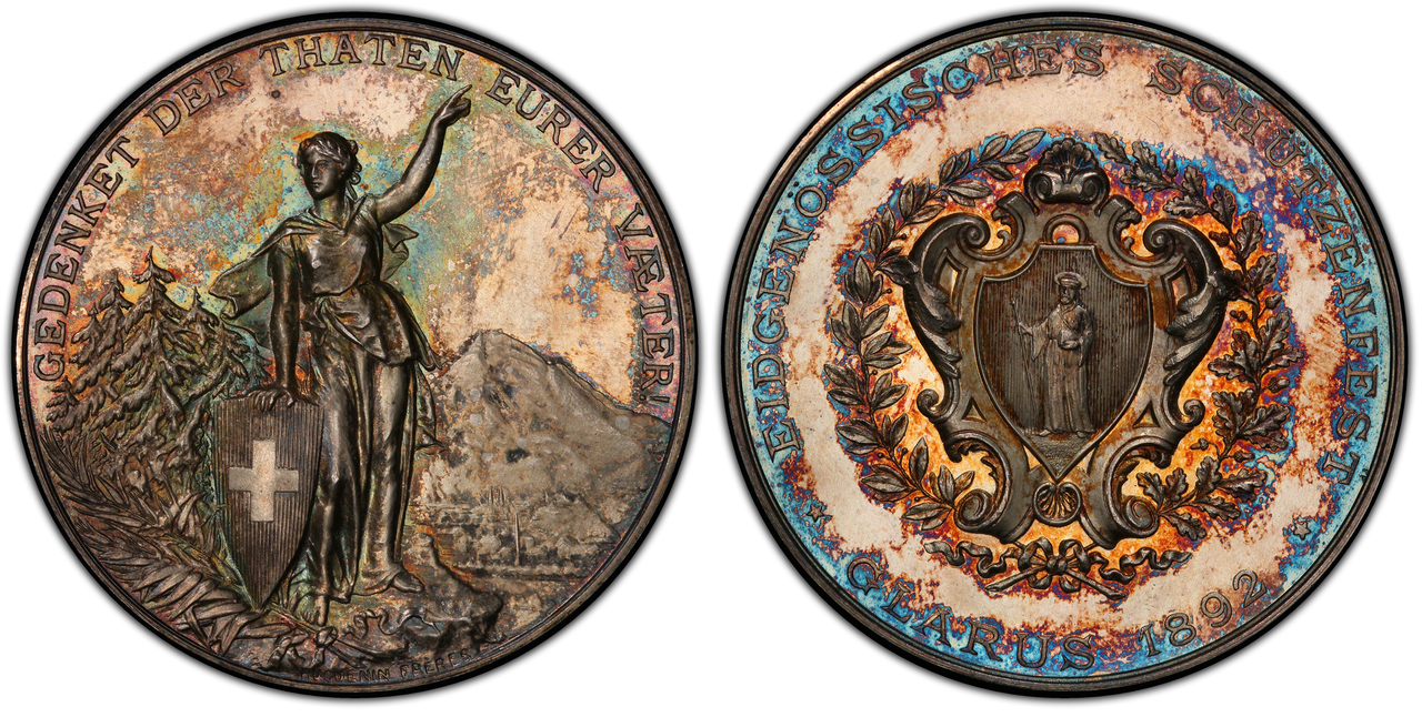 SWITZERLAND. 1842-1898 AR 26-Piece Set of Shooting Festival Coins and Medals. PCGS SP64 Matte - MS61. Images courtesy Atlas Numismatics