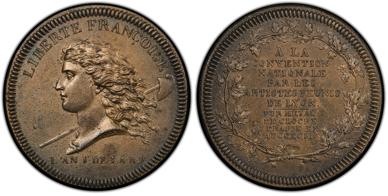 FRANCE. National Convention. (1792-1795). 1792 Bell Metal Medal. PCGS MS63. Images courtesy Atlas Numismatics