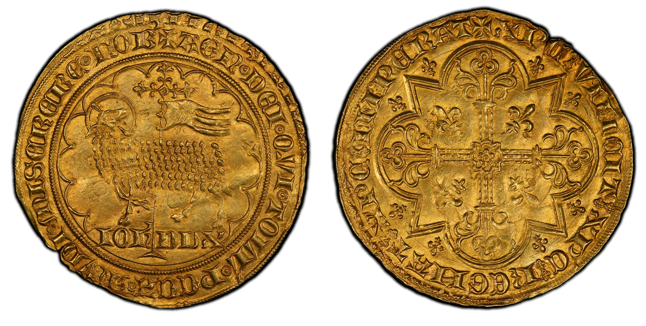 BELGIUM. Brabant. Joanna and Wenceslas. (Duchess and Duke, 1354-1383).1355-83 (ND) AV 2 Mouton d'Or. PCGS MS63. Images courtesy Atlas Numismatics