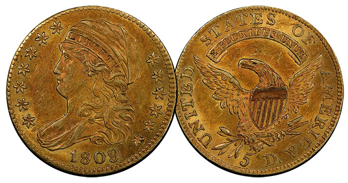 1809/8 Overdate $5 Gold Half Eagle in AU-58. Image Credit: PCGS.