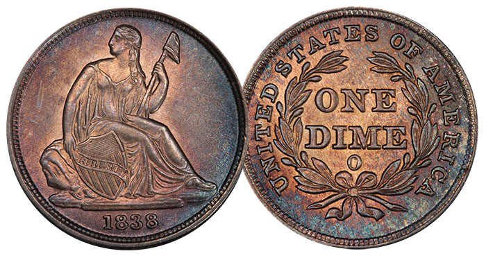 1838-O Dime in PCGS MS64 CAC. Image Credit: PCGS.