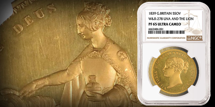 Famous British Rarity Una and the Lion Gold Coin Realizes Over $800,000