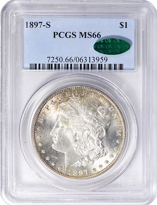 1897-S Morgan Dollar in MS-66 PCGS CAC. Image Credit: GreatCollections.
