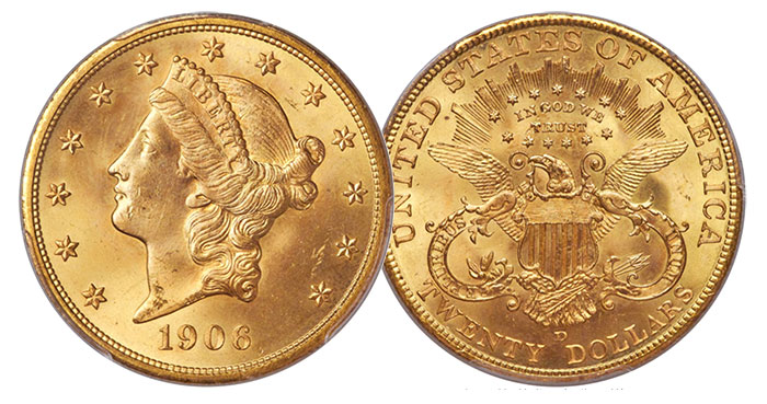 1906-D $20 Gold Double Eagle in MS-65