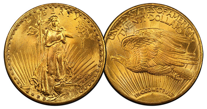 1927 Saint Gaudens. PCGS MS67. Fox. Image Credit: PCGS.