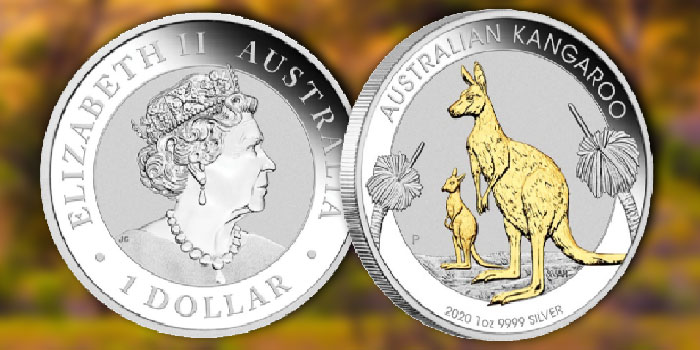 Perth Mint Coin Profiles - Australia 2020 Kangaroo 1oz Silver Gilded Coin