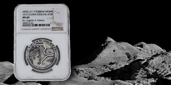 Apollo 17-Flown Silver Robbins Medallion Owned by Last Moonwalker in Heritage Space Exploration Auction