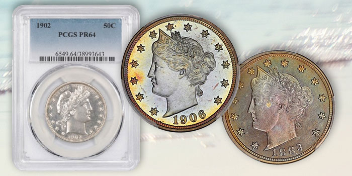 Proof V Nickel, Barber Half Dollar Collections at David Lawrence Rare Coin Auction