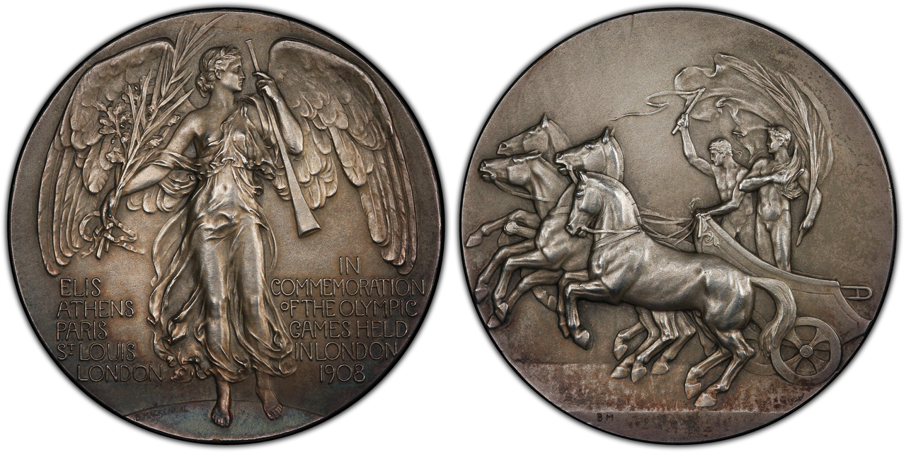 GREAT BRITAIN. Edward VII. (King, 1901-1910). 1908 Silvered AE Medal. PCGS MS64. Images courtesy Atlas Numismatics