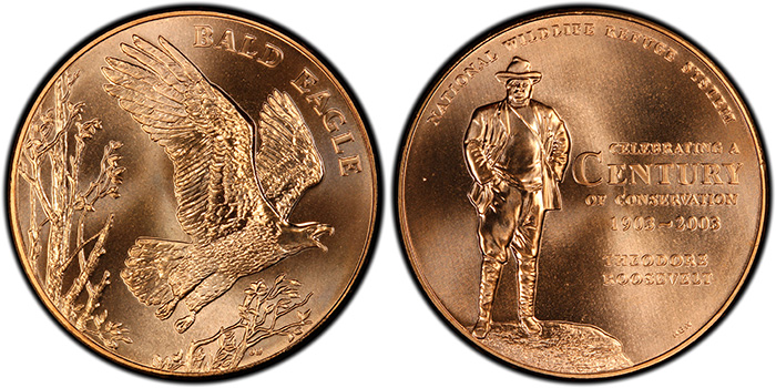 2003 Medal National Wildlife Eagle Bronze PCGS MS68RD, from the NWRS series. National Commemorative Medals Registry Set