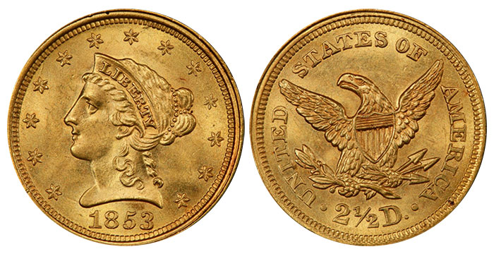 1853 $2.50 Gold Coin. Image: PCGS.