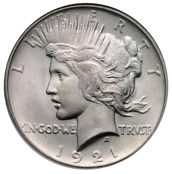 The first-year issue 1921 Peace dollar.