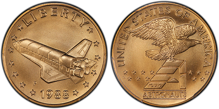 1988-P Medal Space Shuttle in Flight Gold PCGS MS69, from the Young Astronauts Program. National Commemorative Medals Registry Set