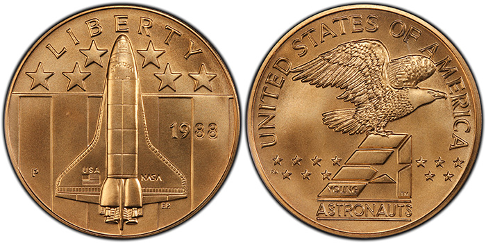 1988-P Medal Space Shuttle over Stars & Stripes Bronze PCGS MS69BN, from the Young Astronauts Program. National Commemorative Medals Registry Set