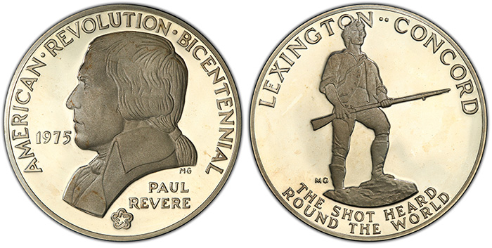 1975 Medal Paul Revere Silver PCGS PR67DCAM, from the American Revolution Bicentennial Series. National Commemorative Medals Registry Set