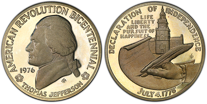 1976 Medal Thomas Jefferson Silver PR67DCAM, from the American Revolution Bicentennial Series. National Commemorative Medals Registry Set