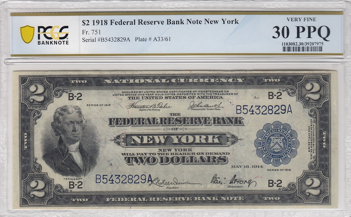 "Face of Series of 1918 ""Battleship Note"" $2 New York Federal Reserve Bank Note. Image courtesy of Heritage Auctions"