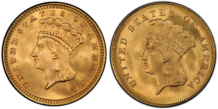 The $1 gold piece (left) finally got its winning design from the $3 gold piece (right). Images courtesy PCGS