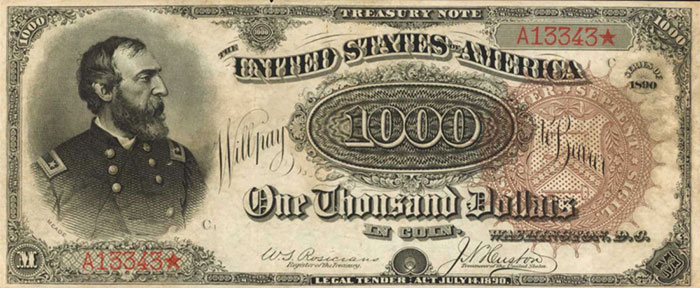 "Finest Known ""Grand Watermelon"" 1890 $1000 Treasury Note: Stack's Bowers Direct"