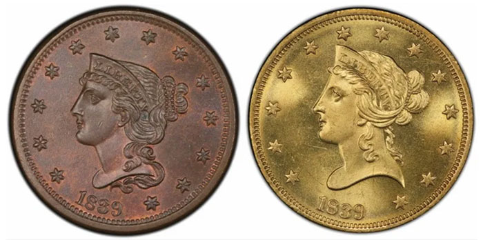 1839 Large Cent and 1839 Half Eagle