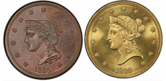 1839 Large Cent and 1839/8 $10 Eagle. Liberty appears to be tipping over.