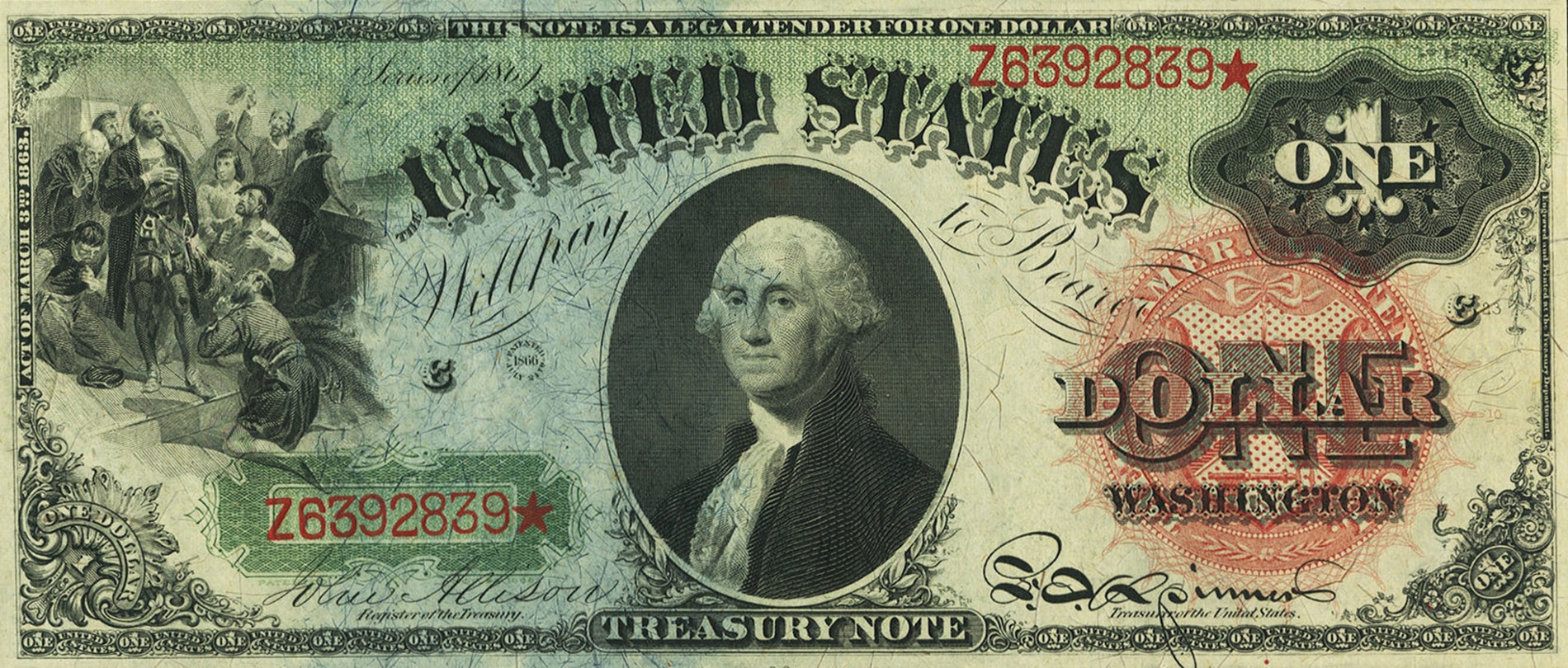 1869 $1 Legal Tender Note (Rainbow Note), courtesy of Heritage Auctions