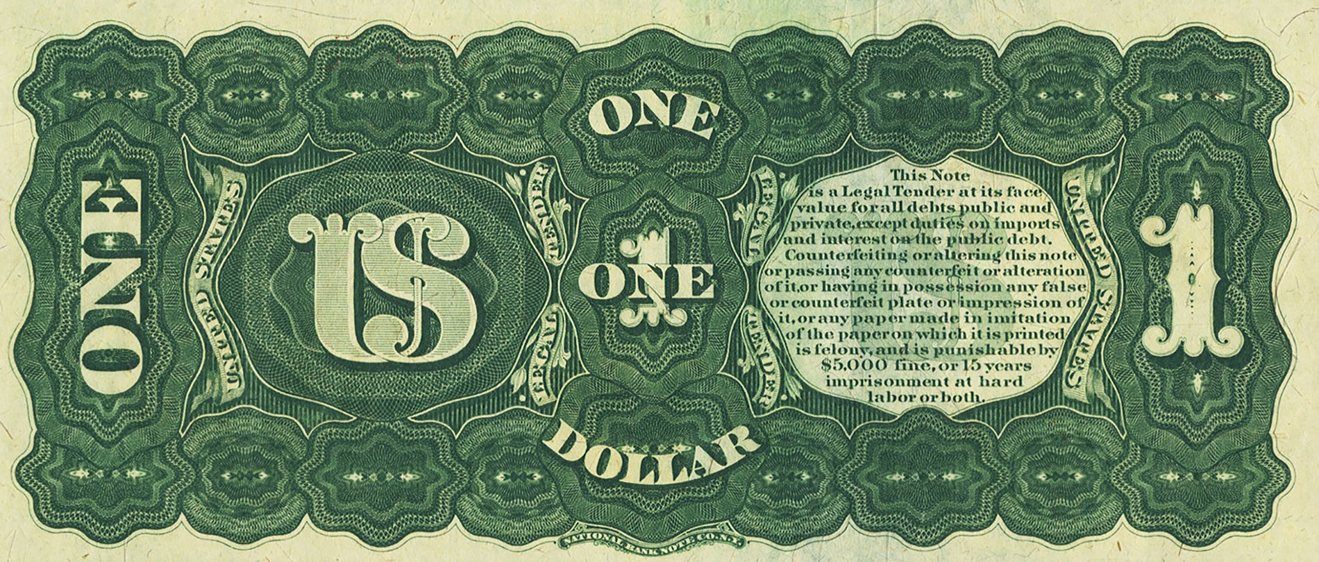 Reverse of Series 1869 $1 Legal Tender Note Rainbow Note; courtesy of Heritage Auctions
