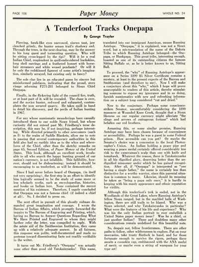 George Traylor's Paper Money article