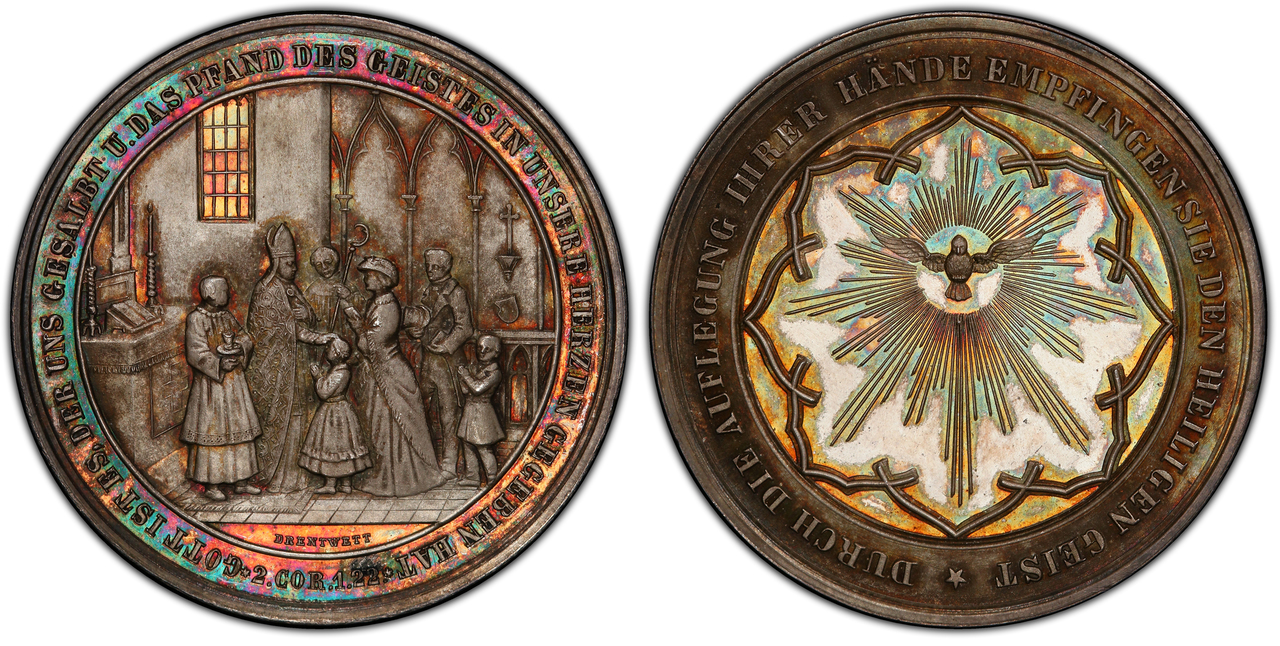 GERMAN STATES. Augsburg. ND (c.1850) AR Confirmation Medal. PCGS SP67. Images courtesy Atlas Numismatics
