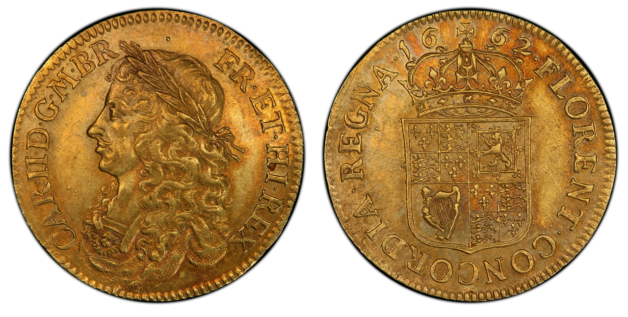 GREAT BRITAIN. England. Charles II. (King, 1660-1685). 1662 AV Pattern Broad (20 Shillings). PCGS AU53. Images courtesy Atlas Numismatics