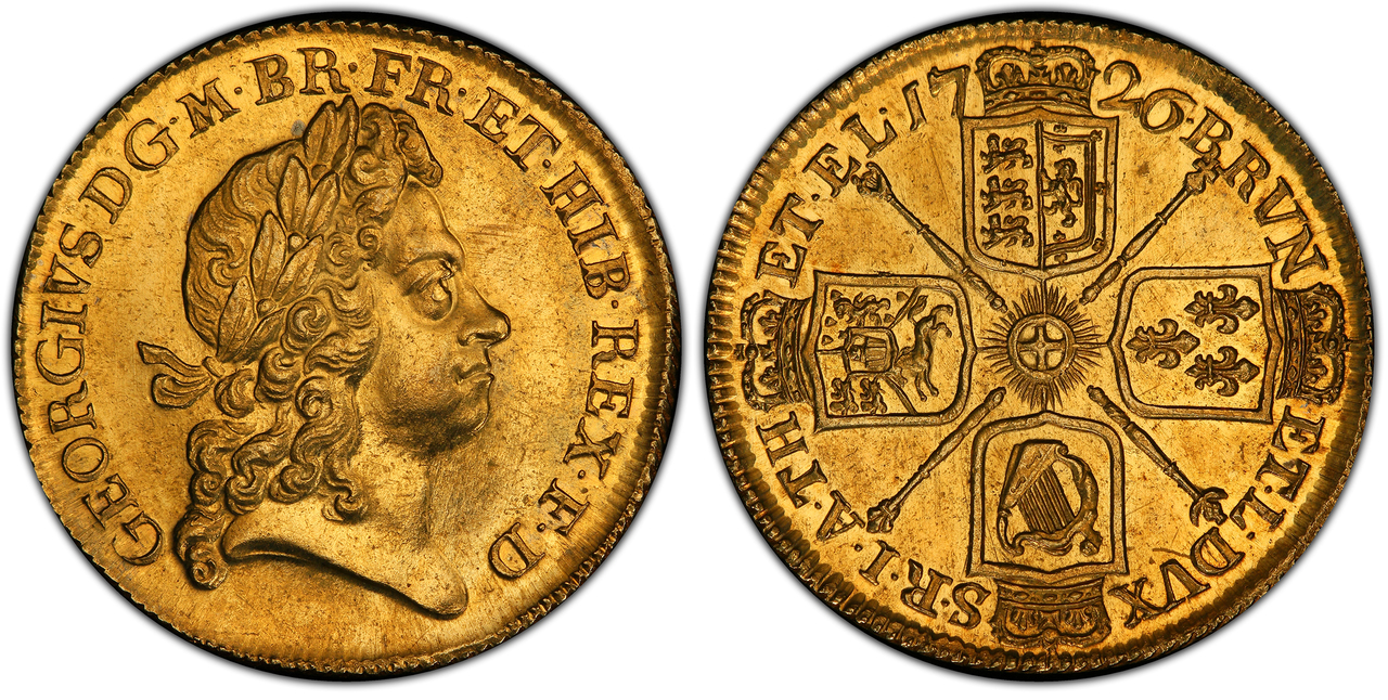 GREAT BRITAIN. George I. (King, 1714-1727). 1726 AV Two Guineas. NGC MS63. Images courtesy Atlas Numismatics