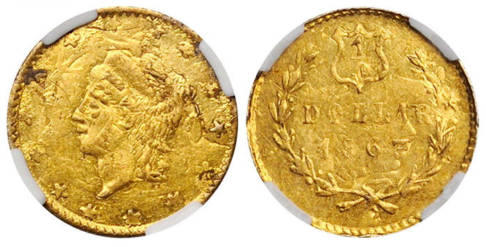 Unique 1863 California Fractional Gold 25¢ Overstruck on 1860/50