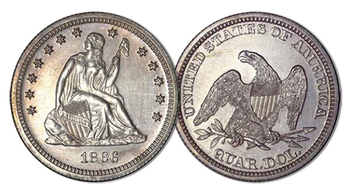 1866 Seated Liberty Quarter Dollar, No Motto, Judd-536 Proof, du Pont Specimen. Image: ANA.