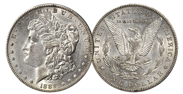 The coveted 1889-CC Morgan dollar Proof.