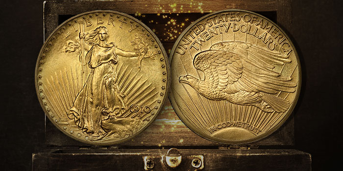Classic US Gold Coins - Experimental Finish 1910 Saint-Gaudens Twenty
