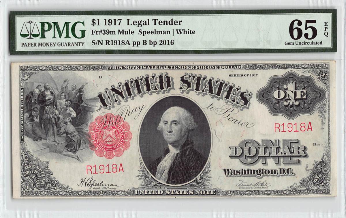 United States 1917 $1 Legal Tender Note. Image courtesy NCIC (Numismatic Crime Information Center), Doug Davis