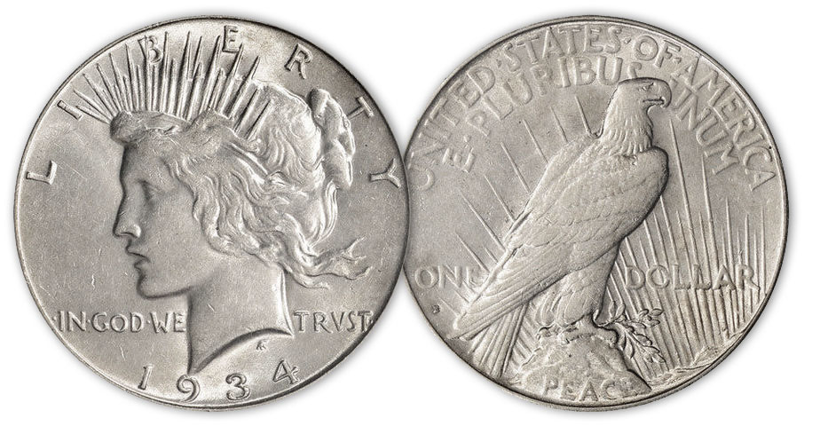 A Mint State 1934-S Peace dollar.