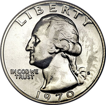 1970-S Washington Quarter Proof Mint Error. Struck on Barber Quarter Planchet.