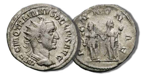Antoninianus. Trajan Decius with a reverse of two Pannoniae standing with a standard left, 3.56 grams, RIC 21b, 249-251 C.E.