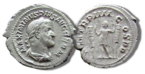 Denarius. Maximinus with a reverse of the emperor between two standards, 2.8 gms, RIC 6, 238 C.E.