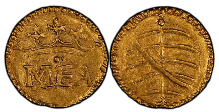 Portuguese India – Goa gold ½ Manuel from Manuel I (1495-1521) FR-1450 PCGS MS63.