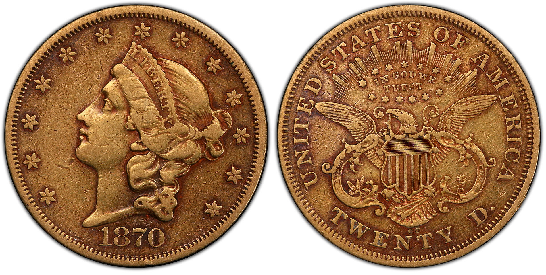 The recently found 1870-CC Liberty Head Double Eagle now graded PCGS VF30. Images courtesy PCGS.