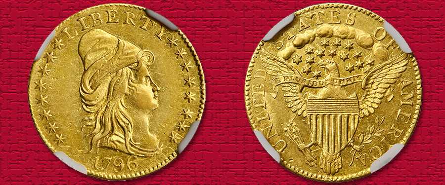 Mint State 1796 Stars on Obverse Quarter Eagle in Stack's Bowers August Auction