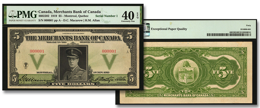 Serial Number 1 Merchants Bank of Canada 5 Dollar in Stack's Bowers Galleries August 2020 Auction of World Paper Money