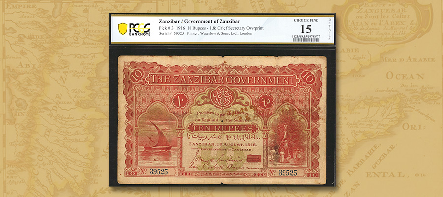 Rare 1916 Zanzibar 10 Rupees in Stack's Bowers Galleries August 2020 Auction of World Paper Money