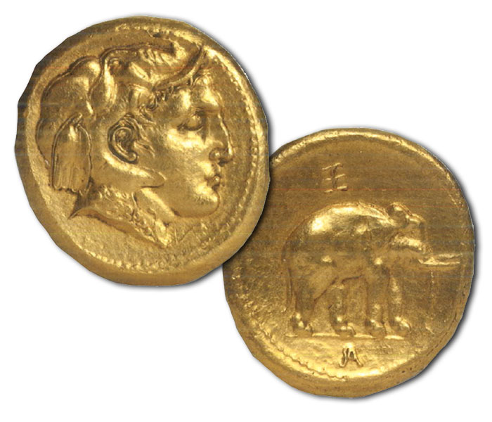 Alexander III of Macedon, double daric, Mobile mint moving with Alexander's Army in India, after 326 BCE 16.75 grams 19 mm from the Mir Zakah II hoard, Afghanistan Private collection
