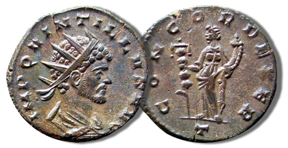 Antoniniani. Quintillus with the reverse of Concord standing with a standard and holding a cornucopia, 3.2 grams, RIC 45, 270 C.E.