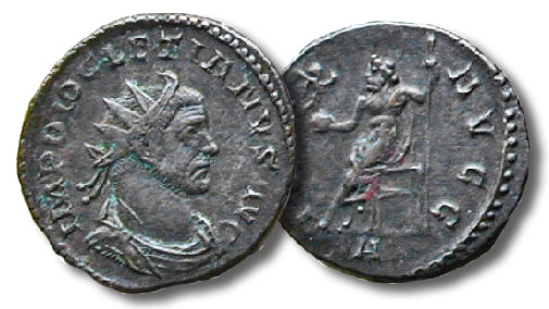 D. Antoniniani. Diocletian with the reverse of Jupiter on the throne with victory on a globe and a scepter, 3.3 grams, RIC 34, 292-4 C.E.